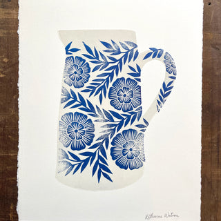 Hand Block Printed Two-Color Pitcher Print