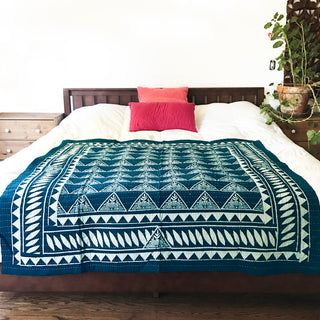 Hand Block Printed Quilt with Natural Dye - Indigo