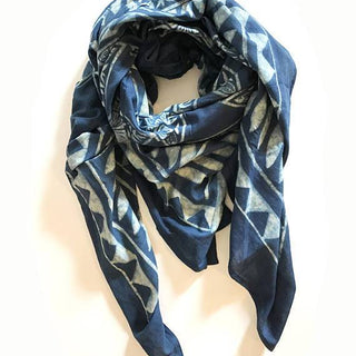Hand Block Printed Cotton Scarf with Natural Dye - Indigo