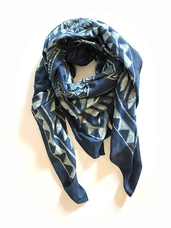 7f76dbc388a Hand Block Printed Cotton Scarf with Natural Dye - Indigo