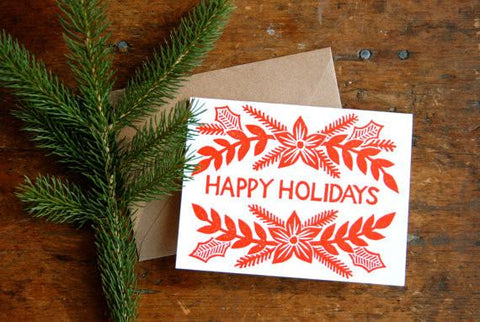 """Happy Holidays"" Block Printed Holiday Cards"