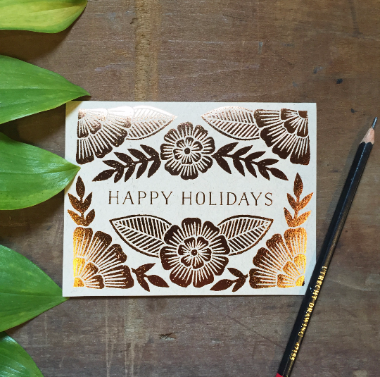 """Happy Holidays"" Foil Stamped Cards"