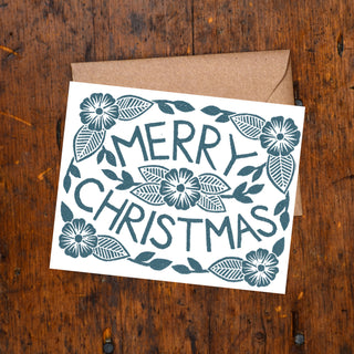 """Merry Christmas"" Block Printed Holiday Cards"