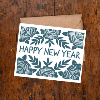 """Happy New Year"" Block Printed Holiday Cards"
