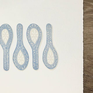 Hand Block Printed Chinese Spoons Art Print