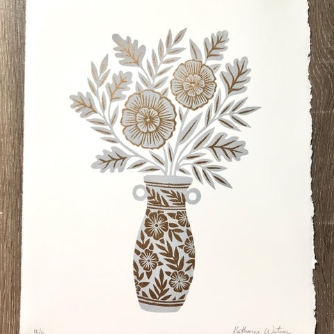 Hand Block Printed Reduction Vase Print