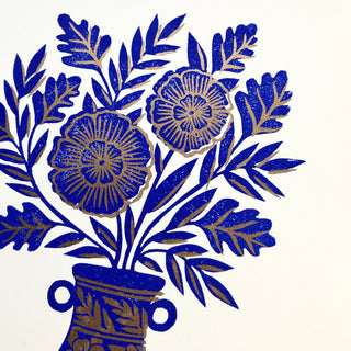 Seconds: Hand Block Printed Reduction Vase Print