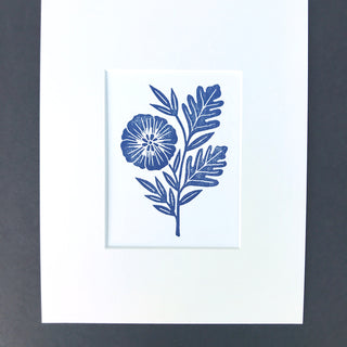 Hand Block Printed Matted Art Print