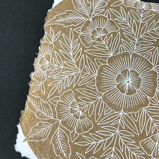 Hand Block Printed Metallic Art Print