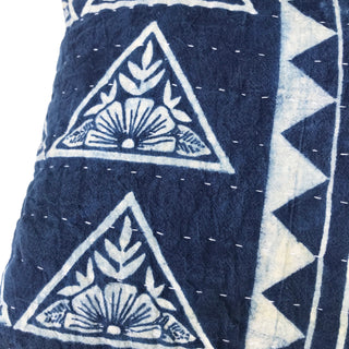 Hand Block Printed Quilted Pillow