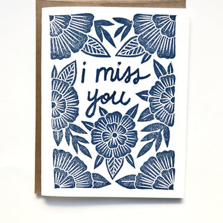"""I Miss You"" Block Printed Greeting Cards"