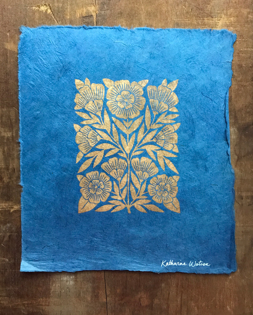 Hand Block Printed Art Print on Handmade Paper