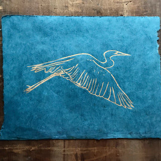 Hand Block Printed Bird Print on Handmade Paper