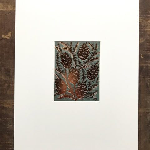 Foil Pinecone Matted Art Print