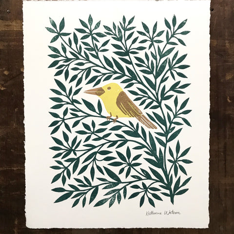 Hand Block Printed Bird Print