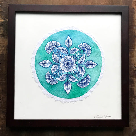 Framed Original Watercolor on Handmade Paper