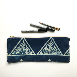 Block Printed Zippered Pencil Case