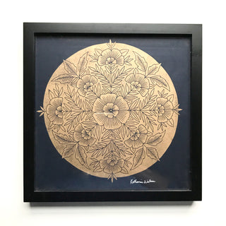 Framed Original Metallic Gold Block Print