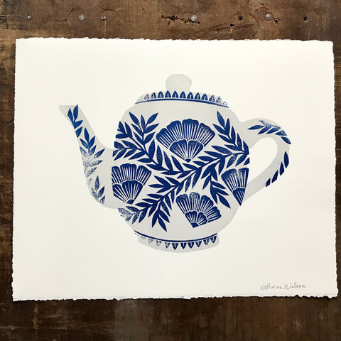 Hand Block Printed Two-Color Teapot Print