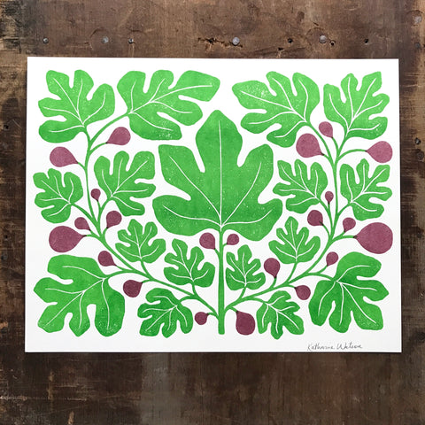 Garden Series: Fig Risograph Print