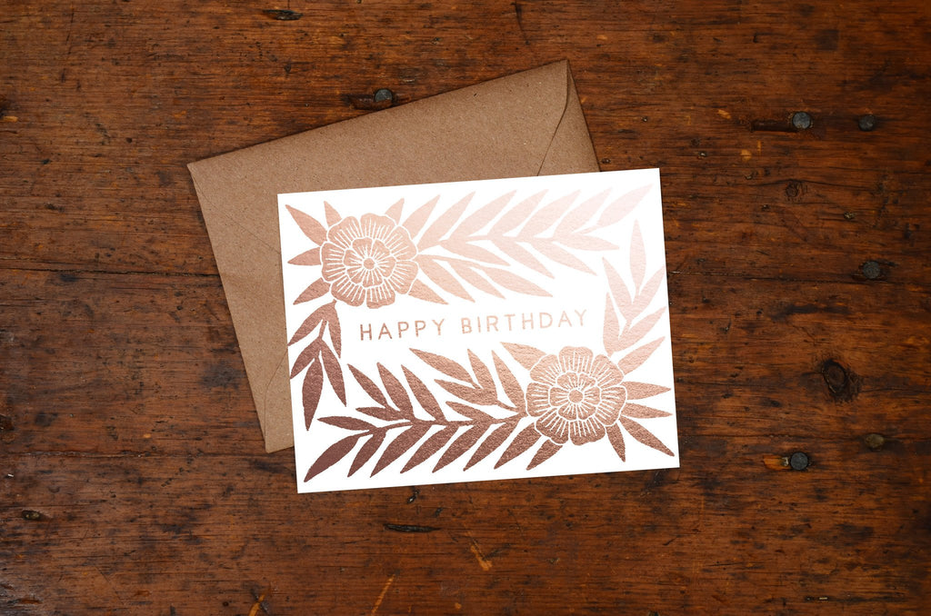 SALE Happy Birthday Foil Stamped Cards