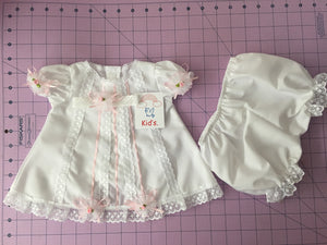 Kid's dress cotton with lace and flowers [White w Pink Lace]