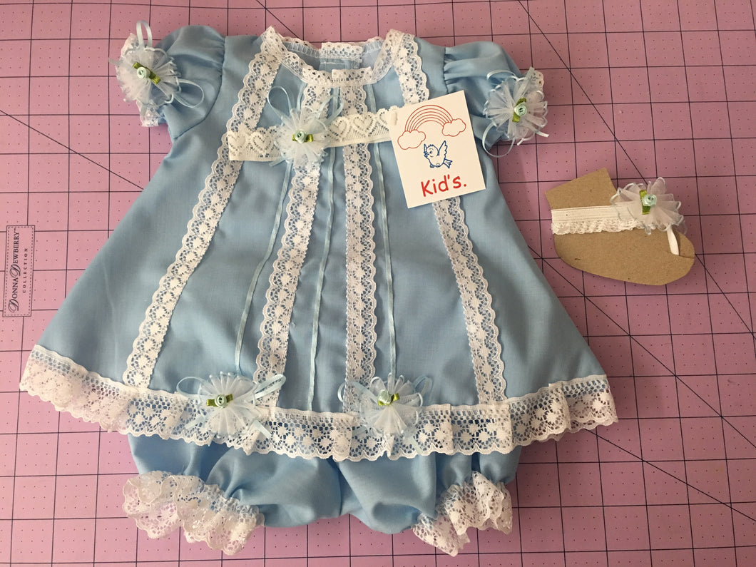 Kid's dress cotton with lace and flowers [Light Blue]