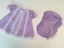 Load image into Gallery viewer, Kid's dress cotton with lace and flowers [Light Purple W Dots]