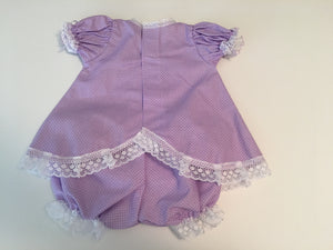Kid's dress cotton with lace and flowers [Light Purple W Dots]