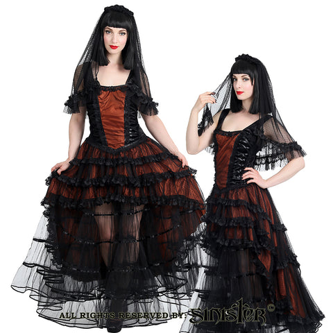 Dress - Long - Short in front and Long in Back - Black /Red