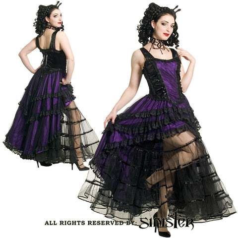 Dress - Long - Short in front and Long in Back - Black / Purple