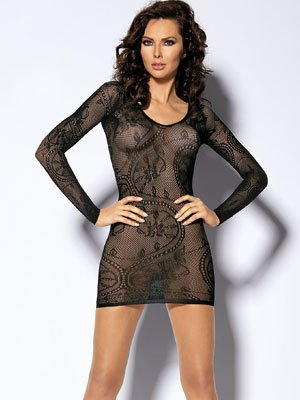 Lingerie - Baby Doll dress - Long sleeved Floral lace mini dress