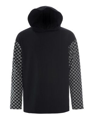 Top - Long Sleeve - Oversized Hood - Black / Grey - Mens