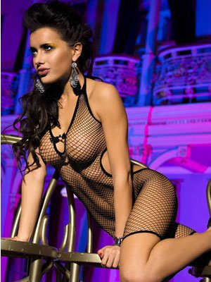 Lingerie - Bodysuit - Black Fishnet Bodysuit - dress look