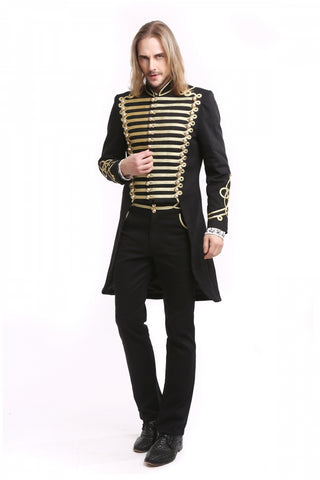 Coat - Gothic - Officer Style - Black and Gold