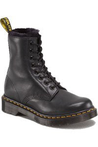 Dr. Martens - 8 eye - Black with Black fake fur