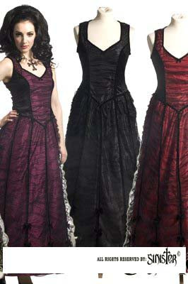 Dress - Long - Velvet w. mesh overlay - BLACK