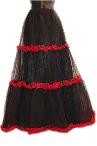 Skirt - Long petticoat - blk & red