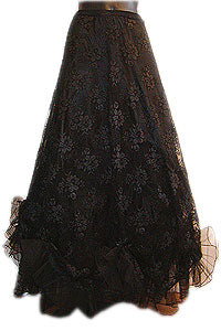 Skirt - Long Skirt with lace & ruffles - black