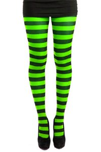 Tights - Striped - Black and Neon Green