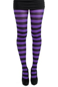 Tights - Striped - Black and Purple
