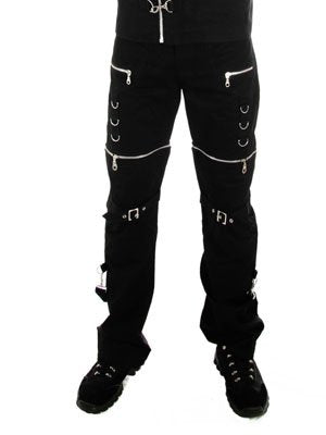 Trousers - Drings & zip effect - Black