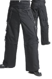 Trousers - pockets on side - black chains