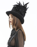 Hat-Steampunk-Gothic-Black - feathers