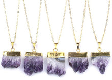 Load image into Gallery viewer, Gold & Amethyst Druzy Necklace