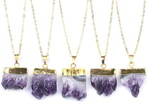Gold & Amethyst Druzy Necklace