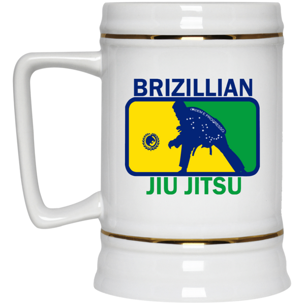 Artichoke Fight Gear Custom Design #5. BJJ MLB Brazil Flag Colors. Parody v2. Beer Stein 22oz.