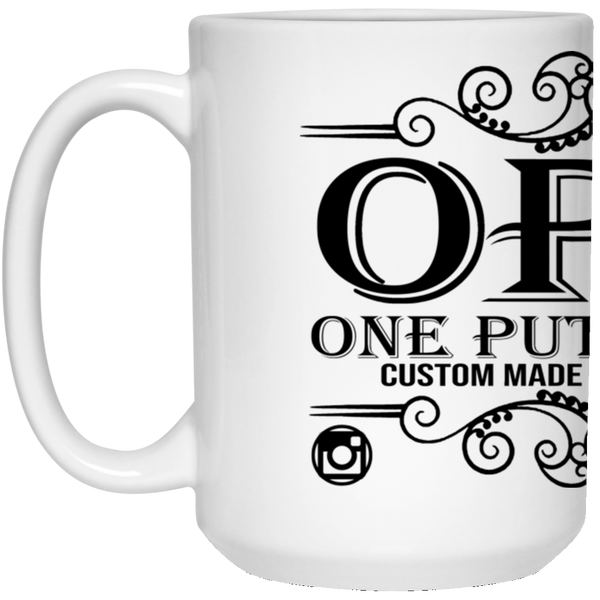 OPG Custom Design #00. OPG - One Putt Golf.  Front and Back Design. 15 oz. White Mug