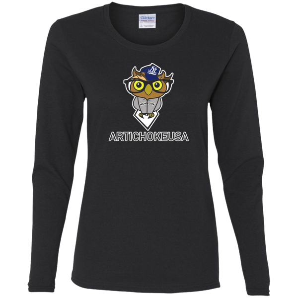ArtichokeUSA Character and Font design #3. Yankees Owl. NY Yankees Fan Art. Let's Create Your Own Design Today. Ladies' Cotton LS T-Shirt
