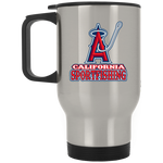 ArtichokeUSA Custom Design #4. California Anglers.California Sportsfishing. Angels of Anaheim from Orange County in California Parody. Silver Stainless Travel Mug
